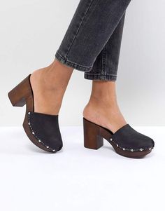 b533ff15f7bb Asos DESIGN Tio Leather Mule Clogs Wooden Sandals, Free People Clogs, Asos,  Summer