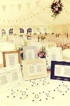 Seating chart- love the frames and flags and the tents, but i want the frames for the pictures and little individual cards with table numbers on them with a gift attached, like SFs
