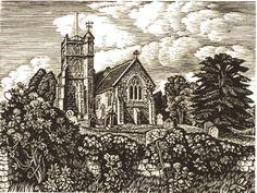 Howard Phipps: Coombe Bissett Church, wood engraving