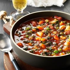 Potato Minestrone Recipe -Let the aroma of this savory soup waft through your home while you get ready for the holidays. I only have to slice some bread and prepare a salad to have dinner ready. For a thicker soup, mash half of the garbanzo beans before adding them to the slow cooker. —Paula Zsiray, Logan, Utah