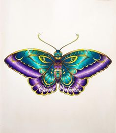 Coloring Book Art, Coloring Tips, Adult Coloring Pages, Colored Pencil Tutorial, Colored Pencil Techniques, Butterfly Artwork, Butterfly Colors, Joanna Basford, Jungle Art