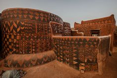 Gurunsi villages are formed by sukhala houses, which are decorated hand painted by the women of the village, tiebele, burkina faso by anthony pappone photographer, via Flickr
