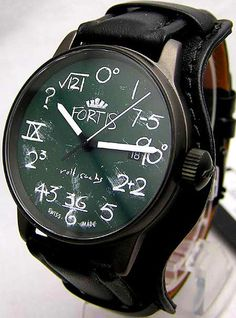 Fortis IQ blackboardstlye watch by Rolf Sachs