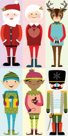 $5 Printable Christmas characters for Olliblocks, by Alma Loveland for caravanshoppe.com