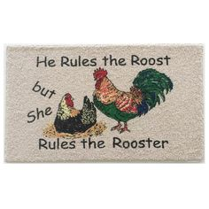 "Momentum Mats Rooster Motif Indoor Mat (Rooster (18"" x 27"")), Beige Off-White (Nylon, Print)"