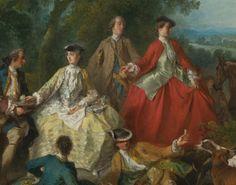 Reinette: Riding Habits 1700-1770 Picnic after the hunt by Nicolas Lancret,det.