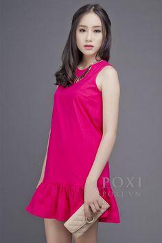 Đầm suông đuôi cá D_14414 màu hồng