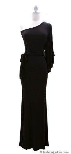 Belted Jersey Long Full Length One Shoulder Kimono Dress-Black