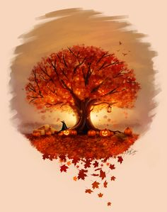 This is one of the most beautiful things I've ever seen on here. Autumn Tree Tattoo - Commission by ~Angela-T on deviantART
