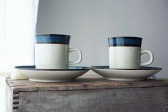 Speckled stoneware with brown and blue stripes. Marked Rainbow Stoneware 652 Mariana Japan.