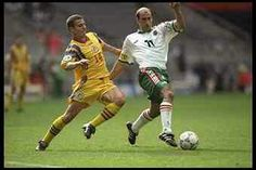 Bulgaria 1 Romania 0 in 1996 at St James Park. Constantin Galca and Yordan Letchkov in action in the Group B game at Euro '96.