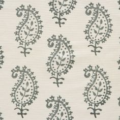 Life & Eternity Detail in Charcoal -- off-white and grey paisley fabric by Vanessa Arbuthnott -- £45 per metre