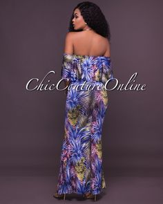 Chic Couture Online - Rory Blue Palm Leaf Print Off The Shoulder Maxi Dress,  (http://www.chiccoutureonline.com/rory-blue-palm-leaf-print-off-the-shoulder-maxi-dress/)