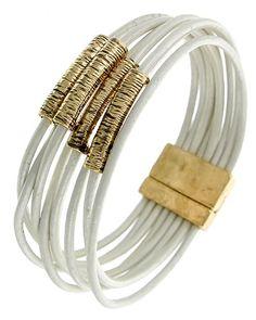 Antique Gold Tone / White Leather / Lead&nickel Compliant / Magnetic Closure / Multi Row / Bracelet