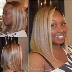 In love with this custom bob unit ✂️ created and colored by #DecaturGA stylist @ChinChin_Hair💛 Looks so natural👌🏾 #voiceofhair ========================== Go to VoiceOfHair.com ========================= Find hairstyles and hair tips! =========================