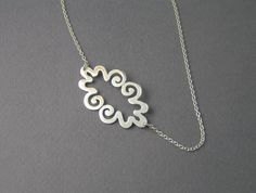 Silver Necklace Pendant  Curvy Cloud Pendant by DaliaShamirJewelry