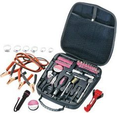 Apollo Precision Tools DT0101P Travel and Automotive Tool Kit, Pink, 64-Piece, Donation Made to Breast Cancer Research