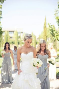 Bridesmaids dresses-love this...light yellow and ivory flowers, gray dresses