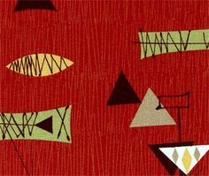 Chris Stone Atomic Tiki CRiMSON Barkcloth -- Upholstery Weight -- BY-THE-YARD - 2 available