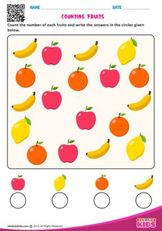 edubuzzkids - Printable preschool worksheets that help kids to practice basic counting with objects like animals, fruits, vehicles etc. Kids will be able to count the number of each object and write the answers in the circles given below on the worksheet. Fun Worksheets For Kids, Printable Preschool Worksheets, Kindergarten Math Worksheets, Phonics Worksheets, Math For Kids, Lkg Worksheets, Daycare Curriculum, Number Worksheets, Preschool Writing