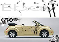 How cute!!  VW Beetle Accessories Flowers | VW Beetle Art Flowers Seed Car Vinyl Decal Stickers Kit