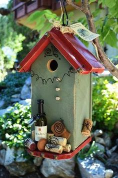 Birdhouse Handmade Functional Decorative Recycled Bird House Patio Outdoor Living Woodworking Gardening Yard Art Home Accent Free Shipping by Kiz Heart