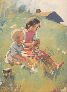 Martta Wendelin was a Finnish artist whose work was widely used to illustrate fairy tales and books, postcards, school books, magazine and book covers. Art And Illustration, Illustrations Posters, Vintage Posters, Vintage Art, Sara Kay, Girl Face Drawing, Flora Und Fauna, Fairytale Art, Colorful Paintings