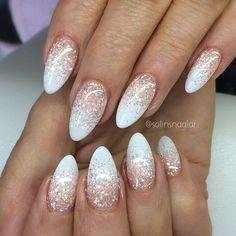 10 Fabulous Ombre Nail Art Designs: # Rosa para Branco com Top Coat Glitter - Design de Unhas Prom Nails, Fun Nails, Light Pink Nails, Nagellack Design, Nagel Gel, Super Nails, Gorgeous Nails, Amazing Nails, Winter Nails
