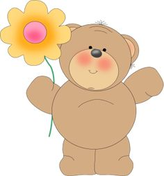 bear with flower transparent background