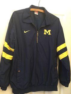 Vintage Michigan Wolverine Pullover Windbreaker Jacket L Nike Blue Large    eBay Pullover Windbreaker, Nike 1aecde943cc5