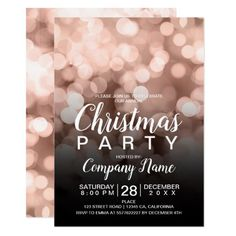 Shop Rose gold bokeh sparkles Christmas corporate Invitation created by girly_trend. Gala Invitation, Cocktail Party Invitation, Corporate Invitation, Invitation Design, Christmas Save The Date, Christmas Graphic Design, Gold Bokeh, Unique Invitations, Invites