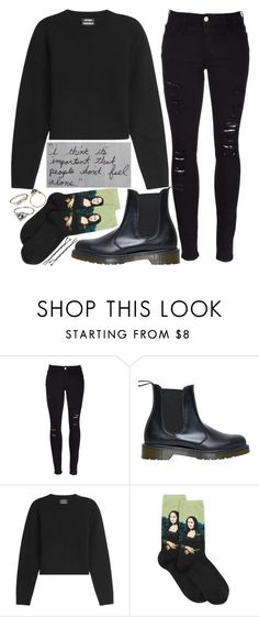 """""""people don't feel alone"""" by velvet-ears ❤ liked on Polyvore featuring Frame Denim, Dr. Martens, Anthony Vaccarello and HOT SOX"""