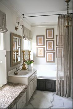 COTE DE TEXAS - Before & After - Florida Condo Home Tour - LOVE the ceiling-hung rod + gallery (beautiful space for baths only) guest bath! Shower Curtain Rods, Shower Rod, Bath Shower, Long Shower Curtains, Elegant Shower Curtains, Extra Long Shower Curtain, Bathroom Curtains, Kitchen Curtains, Cortina Box