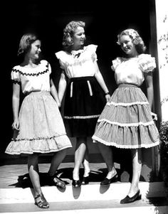 High school girls in frilly dresses, 1946.