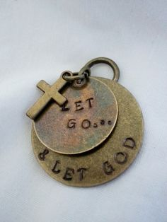 Hand stamped jewelry - Let go and Let God. Great gift for a Christian!
