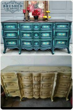 Painted with Dixie Belle Paint Company in palmetto, bunker hill blue, and mermaid tail, clear wax and dark wax details. By: Brushed By Brandy #dixiebellepaint #bestpaintonplanetearth #chalklife #homedecor #doityourself #diy #chalkmineralpaint #chalkpainted #easypeasypaint #makingoldnew #whybuynew #justpainting