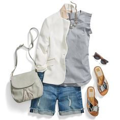 Don't hit snooze on your Sunday style. Simply sub in a crisp sleeveless blouse & white blazer. #StylistTip