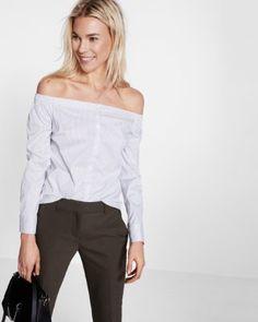 off the shoulder stripe shirt