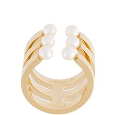 Chloé 'Darcey' ring ($212) ❤ liked on Polyvore featuring jewelry, rings, metallic, gold tone jewelry, chloe jewellery, chloe ring, caged jewelry and pearl ring