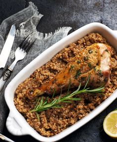 turkey drumsticks with buckwheat