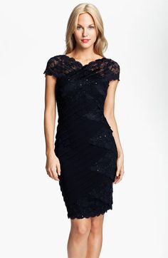 e98802d8be Betsy  amp  Adam Sequin Lace Trim Pleated Jersey Dress available at   Nordstrom Lace Bridesmaid