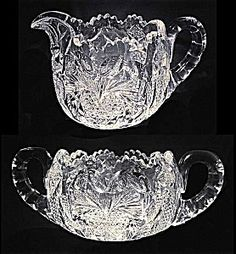 ABP Cut glass sugar and creamer (signed Clark) (Cut Glass and Other Glass) at Randall Antiques & Fine Art Cut Glass, Glass Art, Antique Glassware, Bowl Designs, Cream And Sugar, Pressed Glass, Glass Dishes, Heart Patterns, Milk Glass