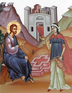 The Lord speaking with the Samaritan Woman at Jacob's Well Luke The Evangelist, Jacobs Well, Life Of Christ, Biblical Art, Byzantine Art, Orthodox Christianity, Art Icon, Religious Icons, Orthodox Icons