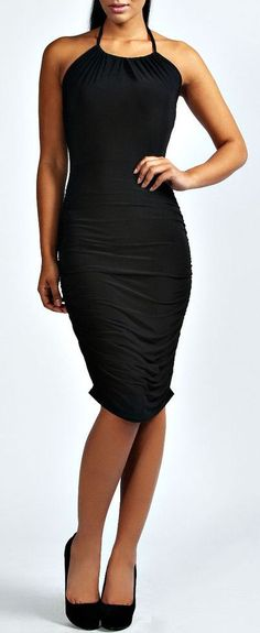 Halter Ruched Slinky Bodycon Dress