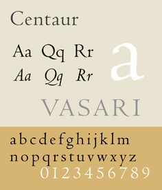 Centaur — a serif typeface by book and typeface designer Bruce Rogers.