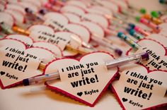 """""""I think you are just write"""" Valentines with a pencil or pen (no candy!)"""