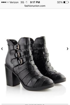 26bfebdf28 Black PU Multi Strap Block Heel Boot these r so beautiful