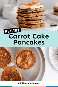 Give your morning a tasty start with Healthy Carrot Cake Pancakes, a delicious breakfast meal featuring carrots, bananas, maple syrup, and even rolled oats! Carrot Cake Pancakes, Banana Oat Pancakes, Cream Cheese Frosting, Make Cream Cheese, Delicious Breakfast Recipes, Brunch Recipes, Healthy Carrot Cakes, Rolled Oats, Pancakes From Scratch