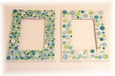 I made one of these as a cheap mother's day gift. Mine was a pink/yellow/orange theme, I stuck the buttons on a cheap store bought frame with a stick of glue. I then put a picture painted by my kiddo in it. It looked really good (more like the example on the left hand side) and was cheap and easy to do.