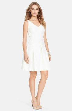 Lauren Ralph Lauren Jacquard V-Neck Fit & Flare Dress www.teelieturner.com Subtle blooms emerge from the bright jacquard of a sleeveless little white dress in a lovely fit-and-flare silhouette. #fashion